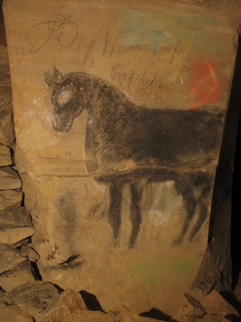 19th century graffiti of a horse in the mine