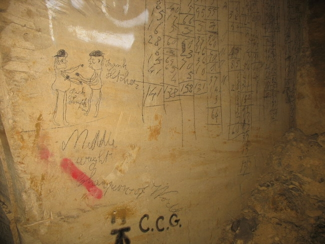More graffiti from the mining period.  Pictures of boxers are common.