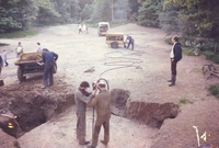 Starting the dig on the Bear Pit using a pneumatic drill to break through the concrete.  A historic picture.