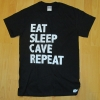 "Black T-shirt with ""Eat Sleep Cave Repeat"" (BLACK)"